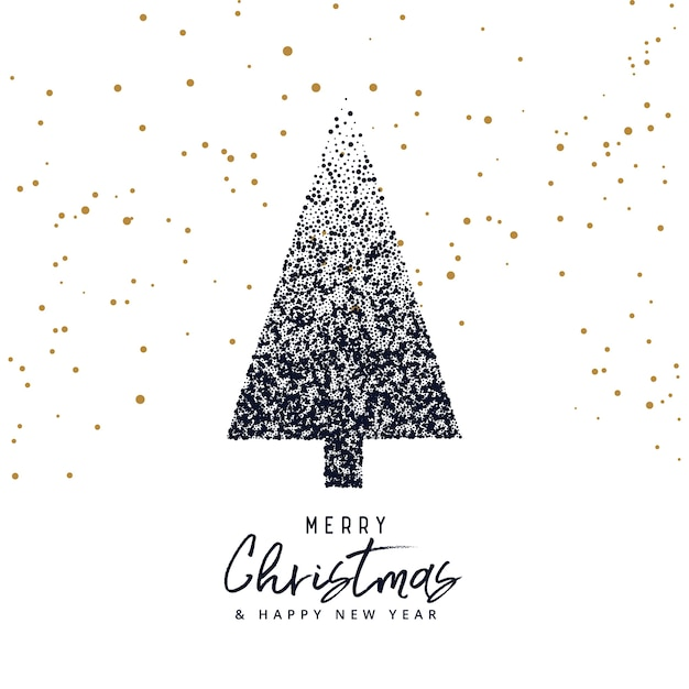 Creative christmas tree design made with dots, xmas greeting Vector ...