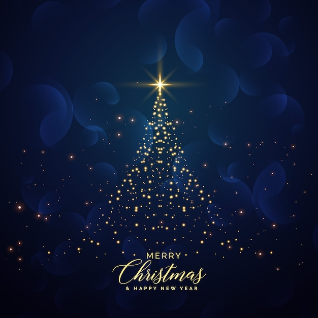 creative christmas tree made with glitter background Free Vector