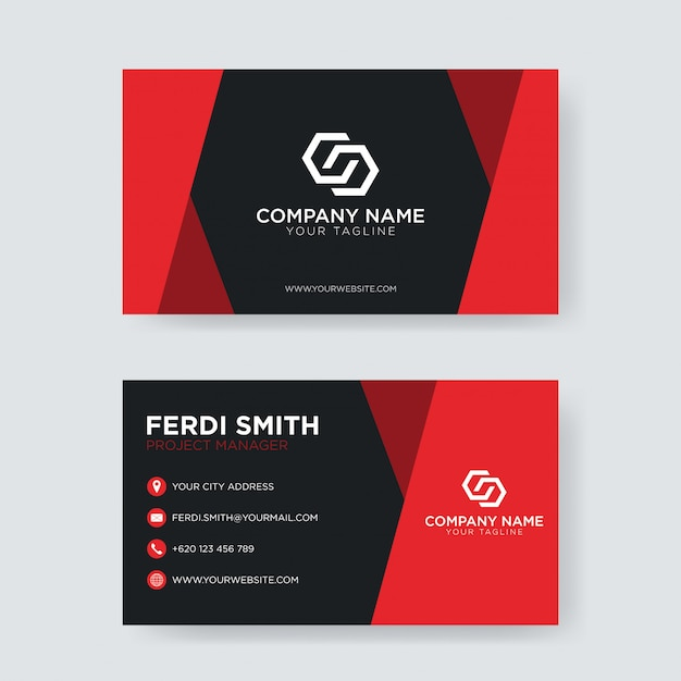 Creative clean business card Premium Vector