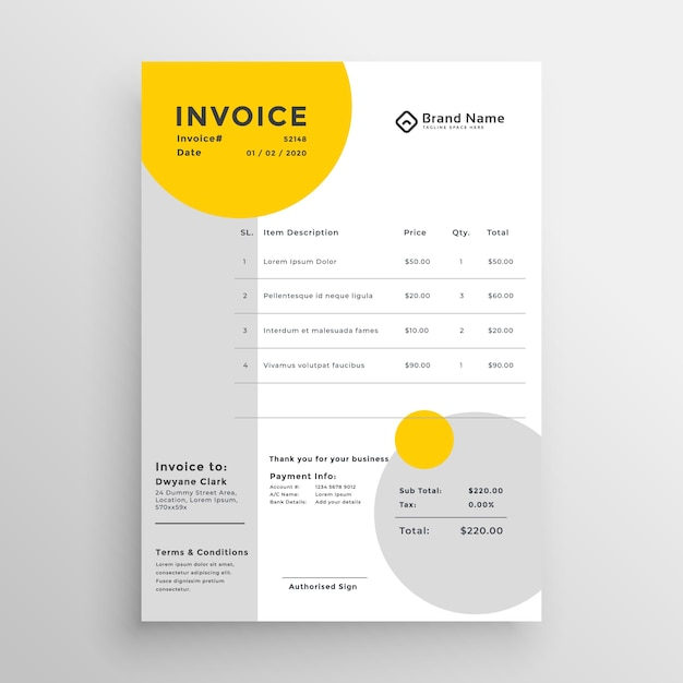 creative clean invoice template design vector free download