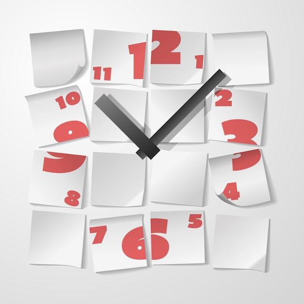 Creative clock with digits Free Vector