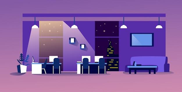 Творческий центр совместной работы современное рабочее пространство пусто нет людей шкаф с мебелью ночной офис интерьер Premium векторы
