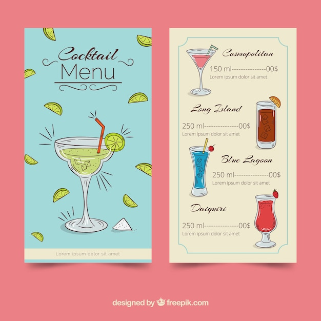 Creative cocktail menu template Free Vector