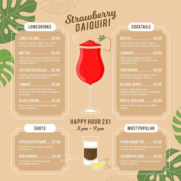 Creative cocktail menu with illustrations Free Vector