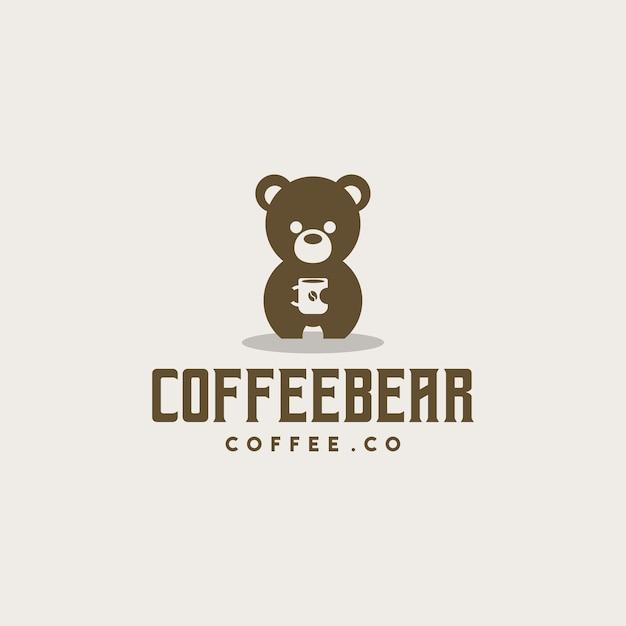 クリエイティブなコーヒーのクマのロゴ Premiumベクター