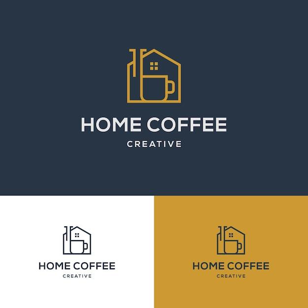 Creative coffee house logo template Premium Vector