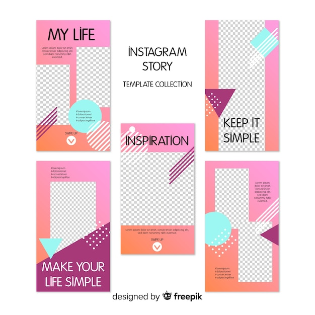 Creative collection of instagram stories templates Free Vector