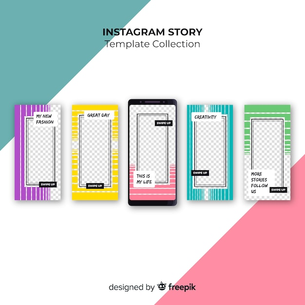 Creative collection of instagram stories Free Vector