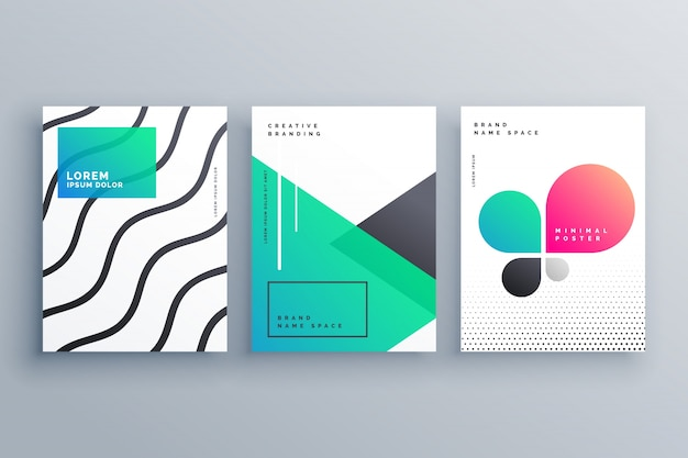 Creative collection of poster templates Premium Vector