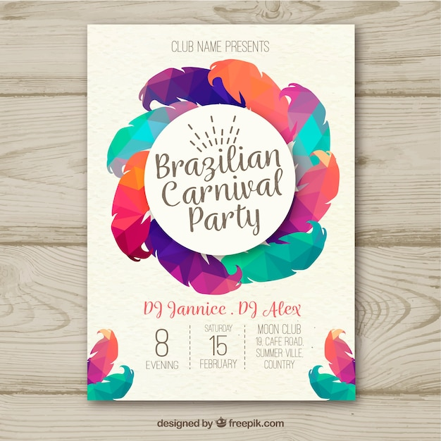 Creative colorful brazilian carnival poster design Free Vector