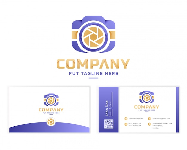 Creative colorful camera logo collection with business card Premium Vector