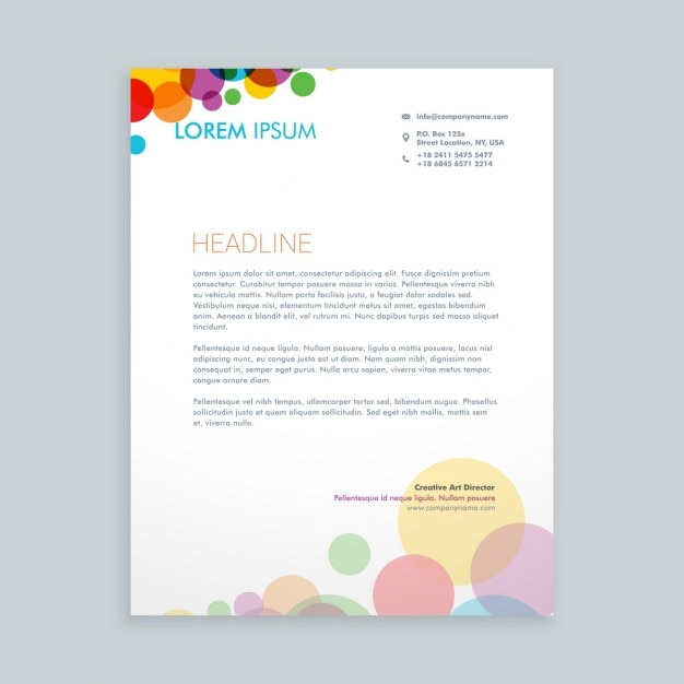 Creative colorful circles letterhead Free Vector