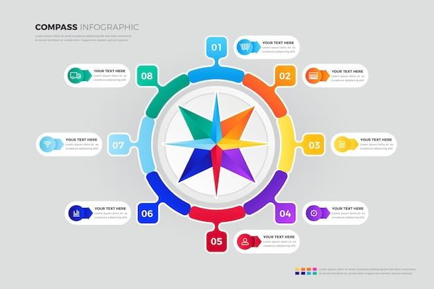 크리 에이 티브 다채로운 나침반 Infographic 프리미엄 벡터