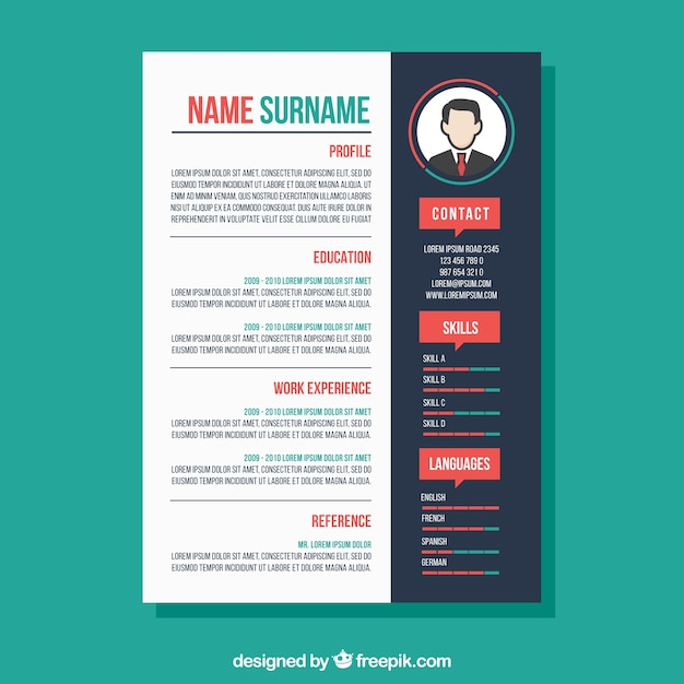 Creative Colorful Cv Template Free Vector