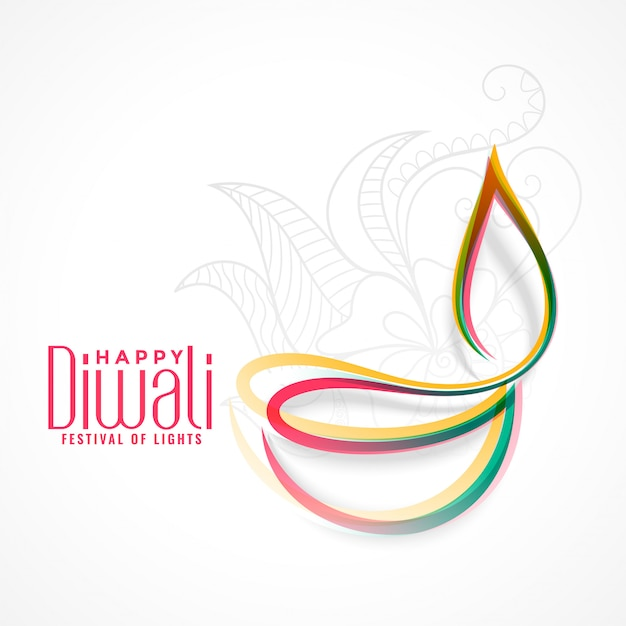 Creative colorful diya lamp for diwali festival Free Vector