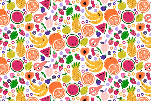 Creative colorful fruity pattern background Free Vector