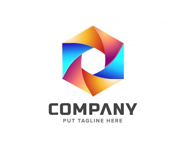 Creative colorful hexagon logo Premium Vector