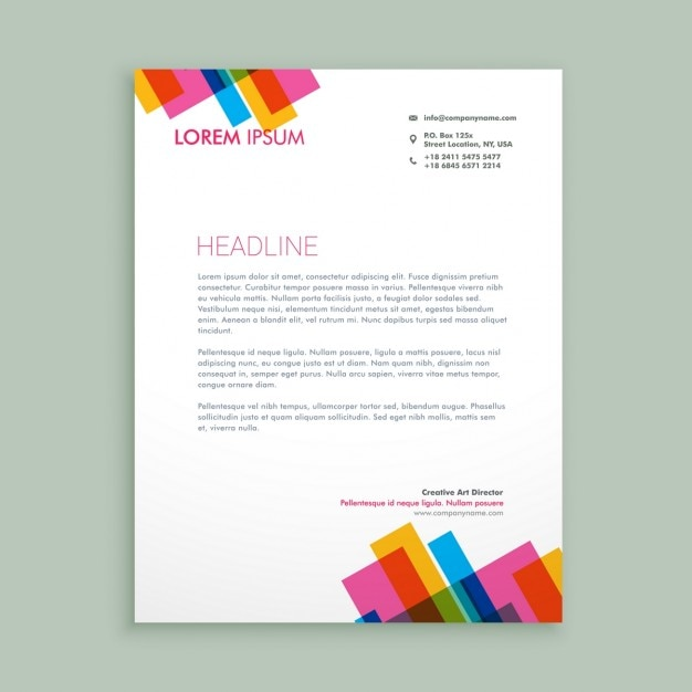 A Creative Corporate Letterhead For Dealing Business With: Creative Colorful Letterhead Vector