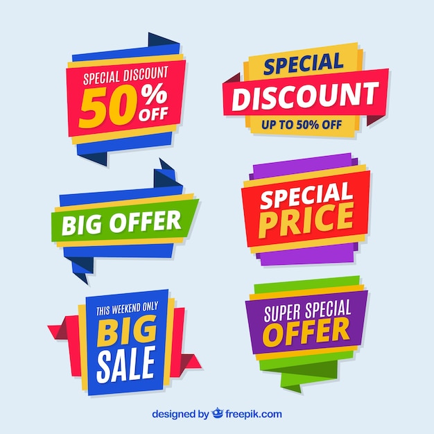 Creative colorful origami discount stickers Free Vector