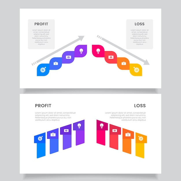 Creative colorful profit and loss infographic Free Vector