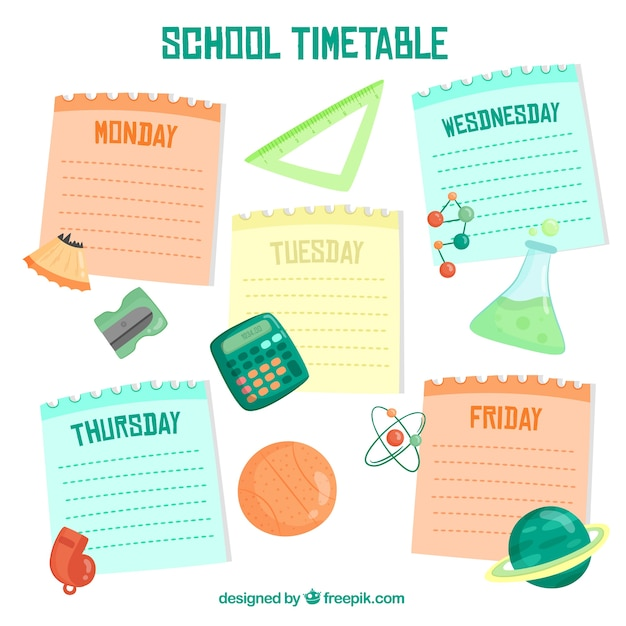 Creative colorful school timetable