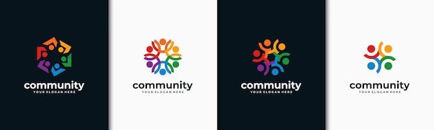 Креативный набор красочных логотипов социальной группы Premium векторы
