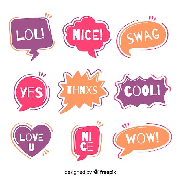 Creative colorful speech balloons for dialog Free Vector