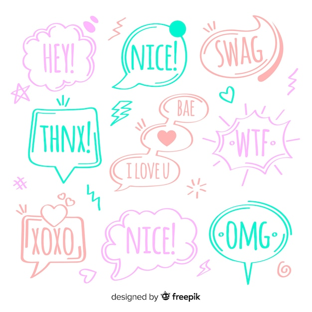 Creative colorful speech bubbles for dialog Free Vector