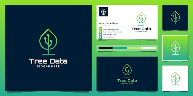 Creative combine leaf and data logo  template. Premium Vector