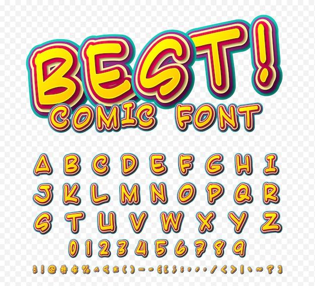 Creative comic font. vector alphabet in style pop art Premium Vector