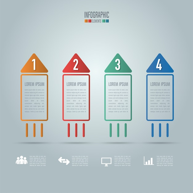 Creative concept for infographic. rocket shape business concept with 4 options, steps or processes. Premium Vector