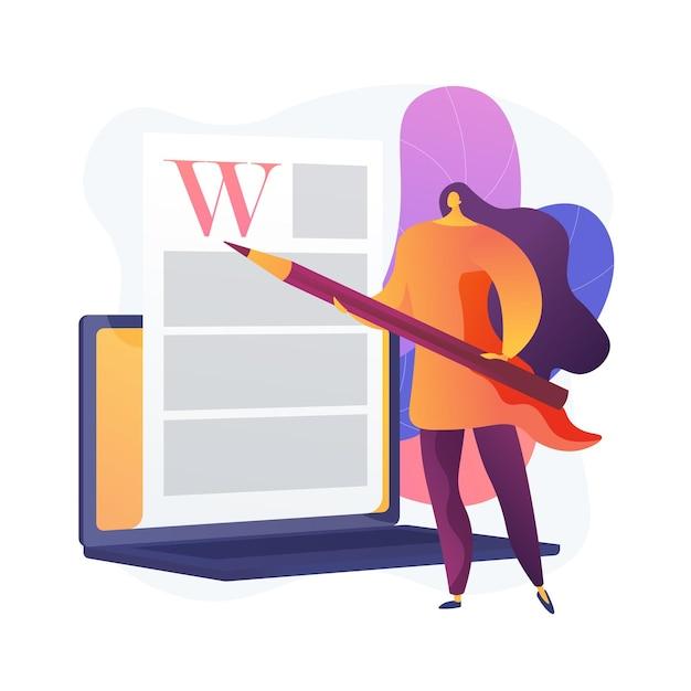 クリエイティブなコンテンツの執筆。コピーライティング、ブログ、インターネットマーケティング。記事のテキストの編集と公開。オンラインドキュメント。作家、編集者のキャラクター。 無料ベクター
