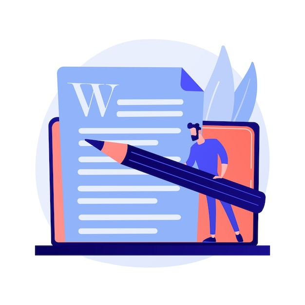Creative content writing. copywriting, blogging, internet marketing. article text editing and publishing. online documents. writer, editor character concept illustration Free Vector