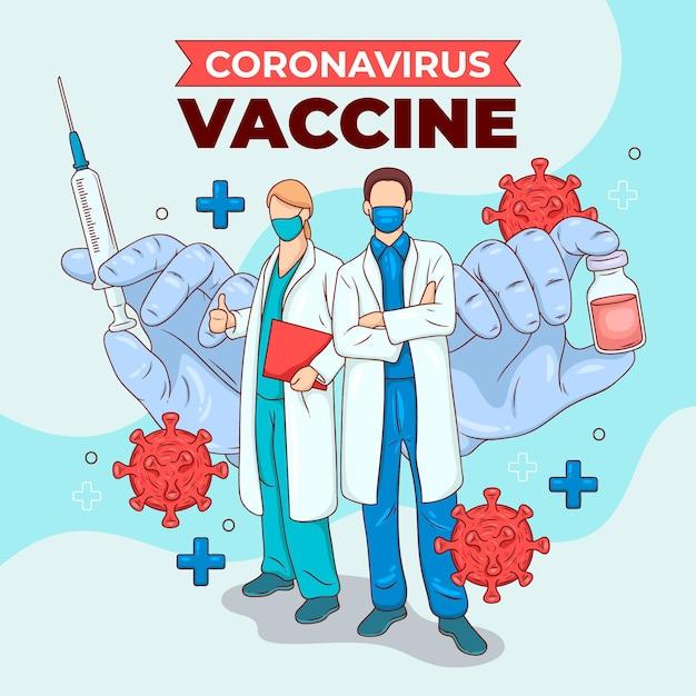 크리 에이 티브 코로나 바이러스 백신 그림 무료 벡터
