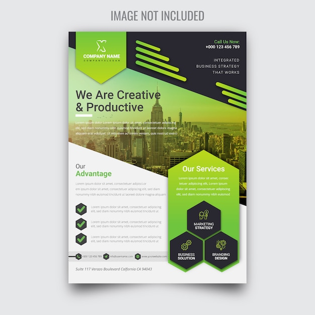 Creative corporate green business flyer Premium Vector