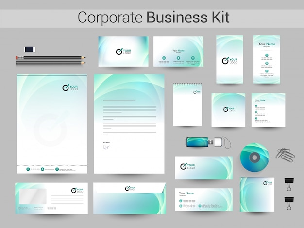 創造的な企業アイデンティティまたはビジネスキットの設計。 Premiumベクター