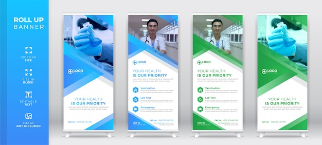 Creative corporate medical roll up set, standee banner template, x stand Premium Vector