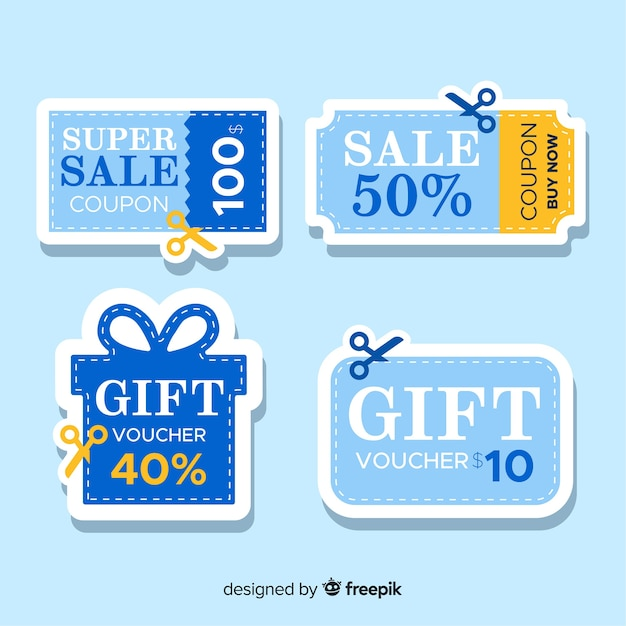 Creative coupon sale label collection Free Vector