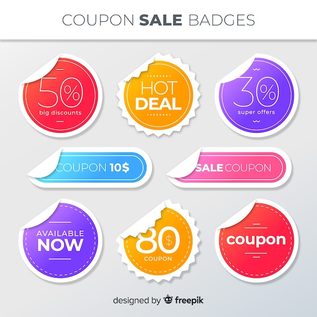 Creative coupon sale label pack Free Vector
