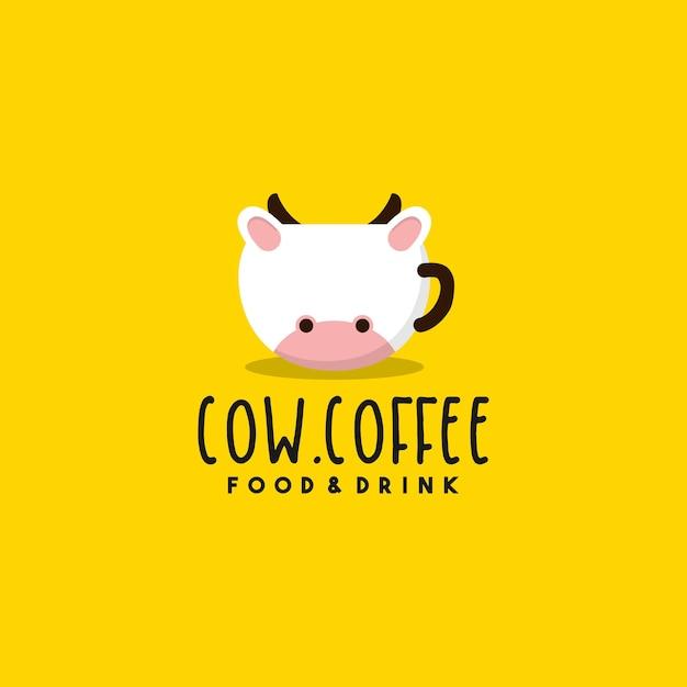 クリエイティブな牛コーヒーのロゴデザイン Premiumベクター