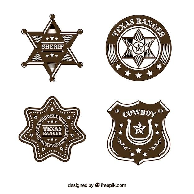 Creative cowboy label collection Free Vector