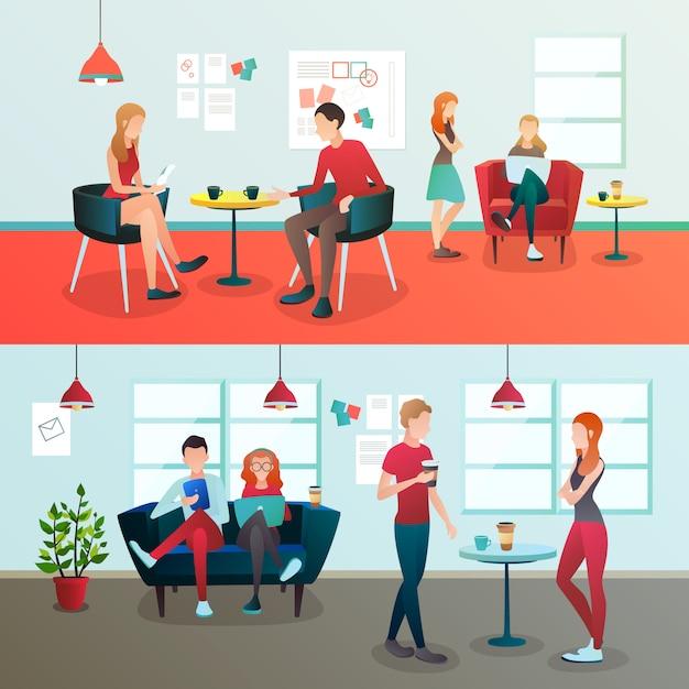 Creative coworking interior composition Free Vector