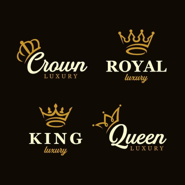 Creative crown concept logo design template set Premium Vector