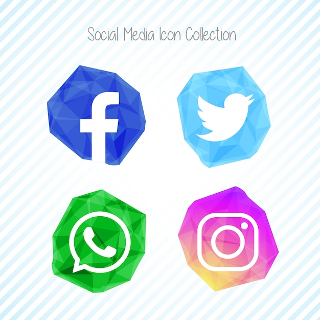 Creative crystal social media icon set Free Vector