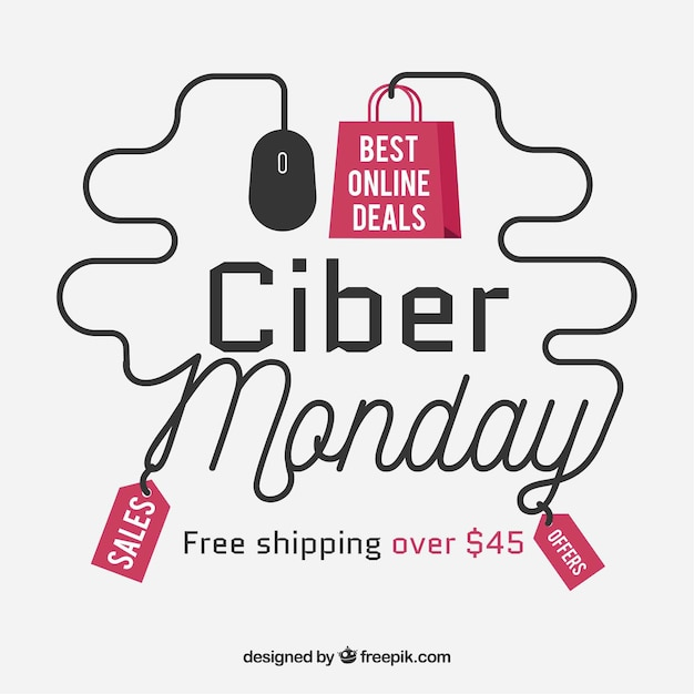 Creative cyber monday design in flat style