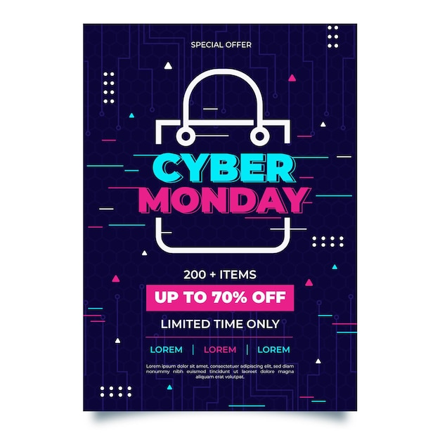 Creative cyber monday poster template with special offer Free Vector