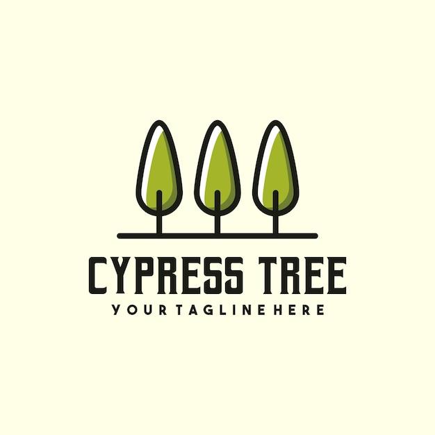 創造的なサイプレスツリーのロゴ Premiumベクター