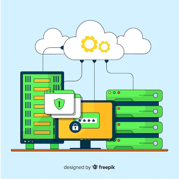Creative data hosting concept Free Vector