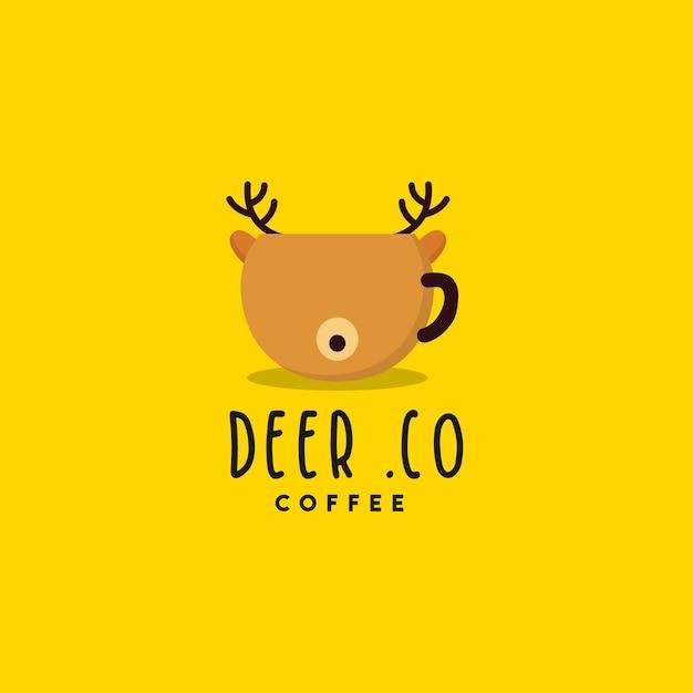 クリエイティブな鹿コーヒーのロゴデザイン Premiumベクター