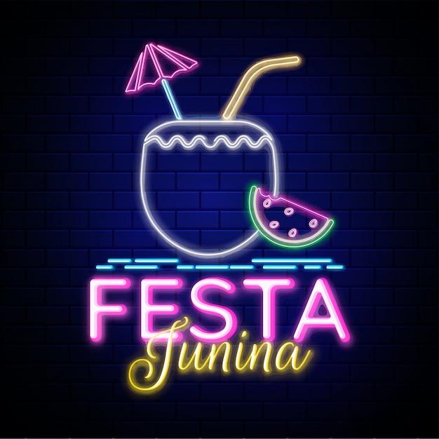 Creative design for festa junina party, neon effect Premium Vector